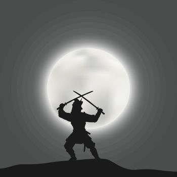Japanese warrior samurai crossed two swords on the background of a bright moon disk