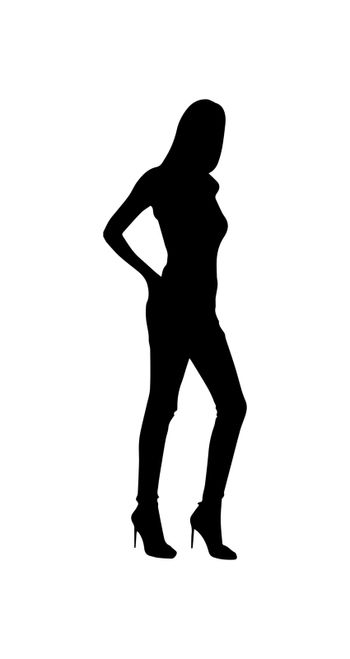 Contoured silhouette of a girl figure, simple pattern