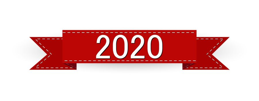 New Year's greetings, red ribbon with the number 2020