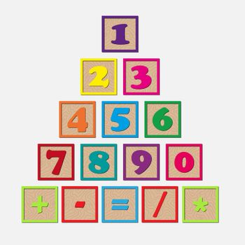 set of wooden cubes with numbers and arithmetic signs