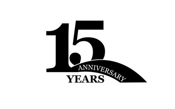 15 years anniversary, flat simple design, logo