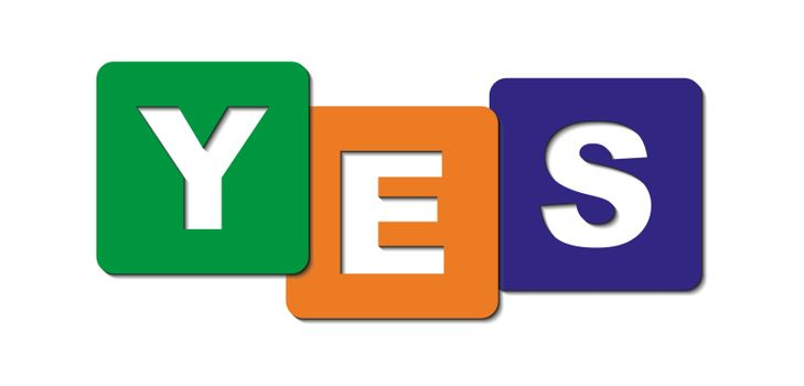 word Yes is made of cubes with letters