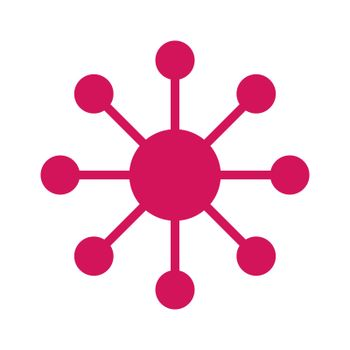 Contact, Hub or Analytics Icon, Flat Design
