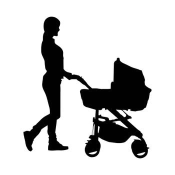 Silhouette of a young woman with a baby stroller, simple pattern