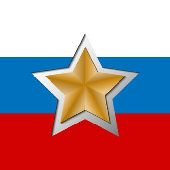 Gold star cut from the background in the colors of the Russian f