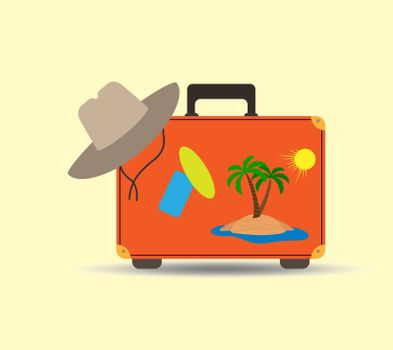 Travel and tourism, suitcase and beach hat, flat design