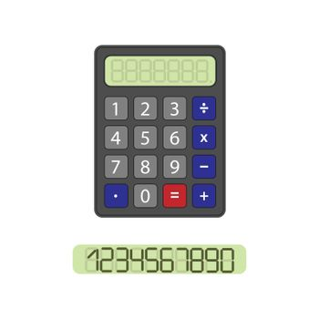 Calculator with a clean scoreboard and a set of numbers to fill, flat design