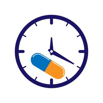 Time to take medication, watch and capsule with medication, flat design