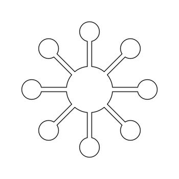 Transparent contact, hub or analytics icon, flat design