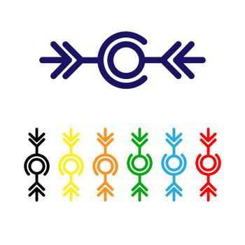 Wire connection icon. Set of multicolored elements for web and software interfaces.