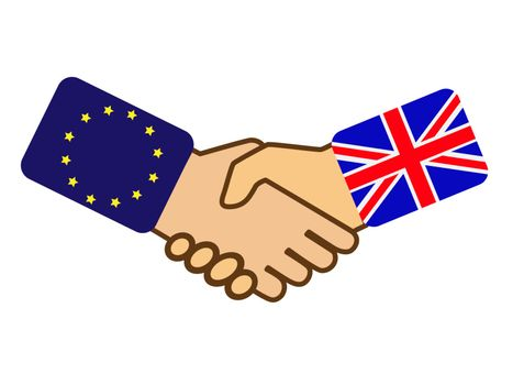 Shake hands with the symbols of the flags of the United Kingdom and the European Union, flat design