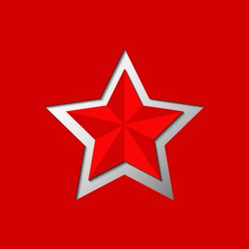 Red five-pointed star cut from red background,