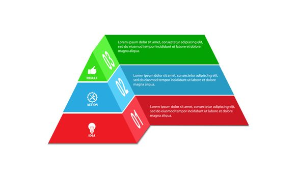 Infographics, pyramid for visual design of business projects, strategies and planning