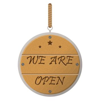 On a rope tied wooden sign with the inscription We are open