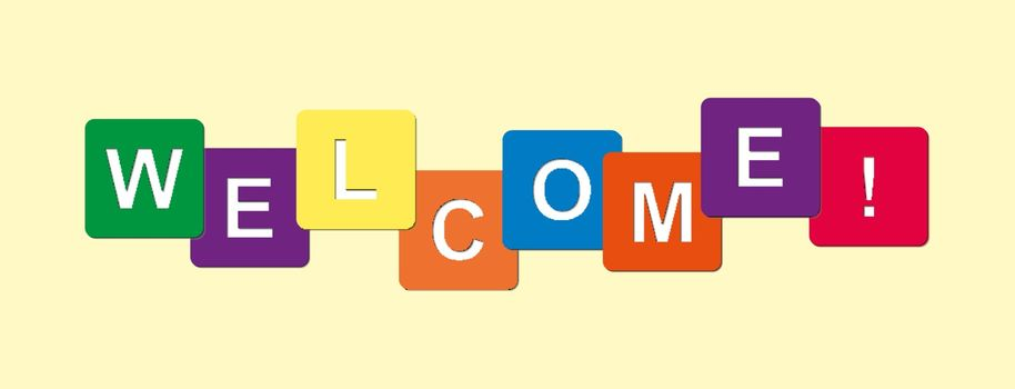 word of Welcome from cubes with letters