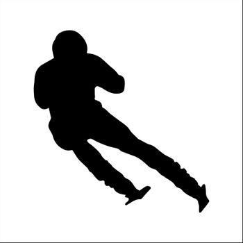 Sport, simple contoured silhouette of an athlete skiing
