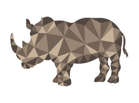 Rhino pattern in polygonal style for design and decoration