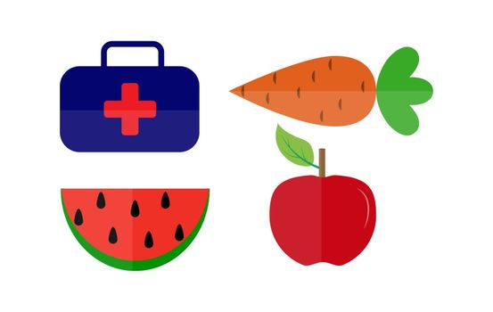 Vitamin products for healthy food and medical suitcase, simple drawing