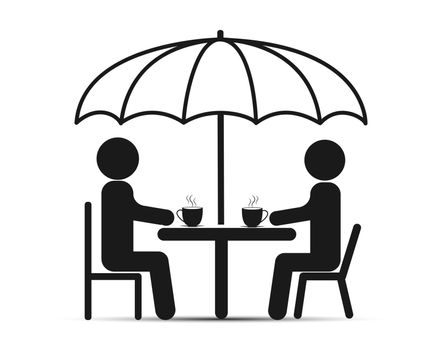 Two people sit at a table under an umbrella, drink tea or coffee and talk