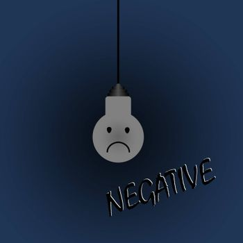 Light bulb in the style of negative, cheerful emotion