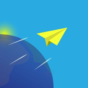 Isometric paper plane flying against the background of the globe