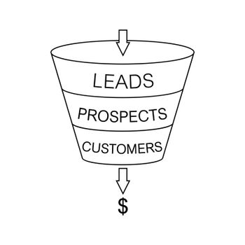 Infographics lead generation, sales funnel with arrows to illustrate the business concept, simple drawing