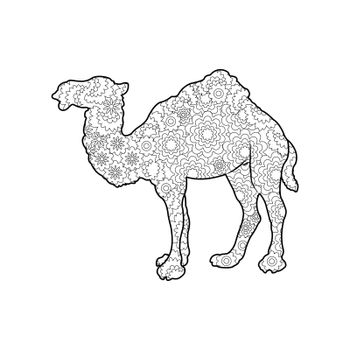 Frame silhouette of a camel for coloring with colored paints or pencils for children and adults