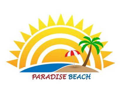 Sun logo and inscription Paradise Beach, flat design, color image