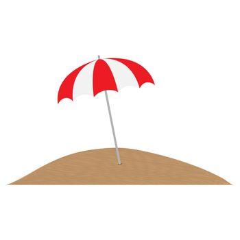 Multi-colored umbrella from the sun in the sand, simple design