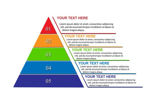 Business infographics pyramid for presentations of applications and web sites, flat icon
