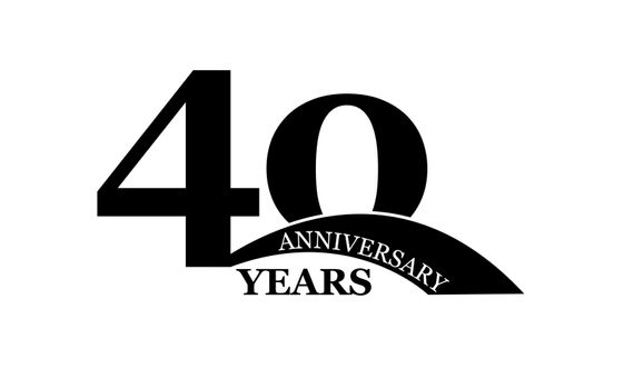 40 years anniversary, simple flat design, logo for design and decoration