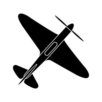 simple drawing of a single-engine propeller airplane