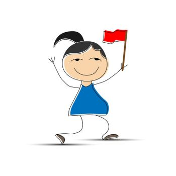 Cheerful girl with a red flag in her hand, simple design