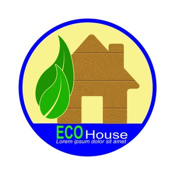 Simple logo with a silhouette of a house, leaves and the words ECO house