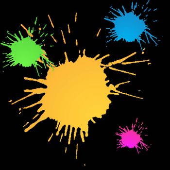 Multi-colored paint stains for design and decoration
