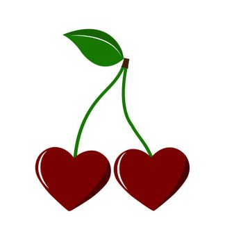 Two heart shaped berries on the stalk, flat design