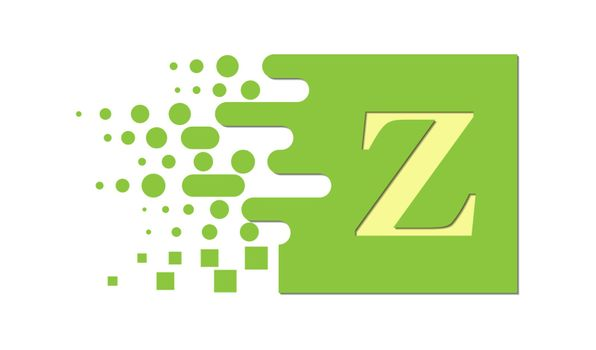 letter Z on a colored square with destroyed blocks on a white background.