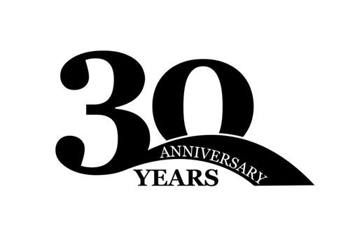 30 years anniversary, simple flat design, logo for design and decoration