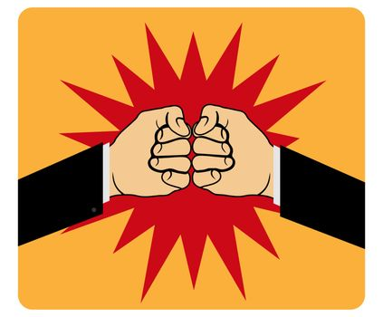Two fists bump against each other, flat design