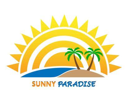 Sun logo and inscription Sunny Paradise, flat design, color image