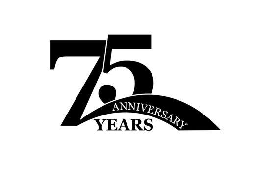 75 years anniversary, flat simple design, logo