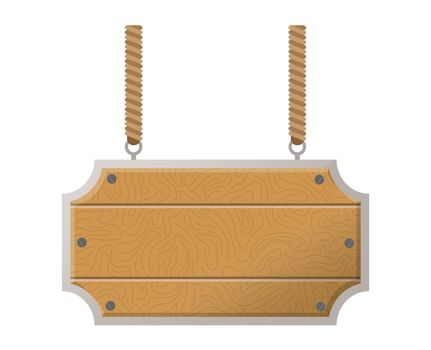 wooden plaque hanging on the ropes, a place for your inscriptions