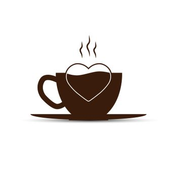 Simple logo, coffee Cup and heart silhouette, flat design