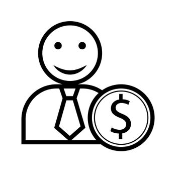 Contoured silhouette of a man with a smile and a coin with a dollar symbol