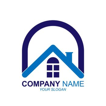 Logo of construction, real estate company, flat design