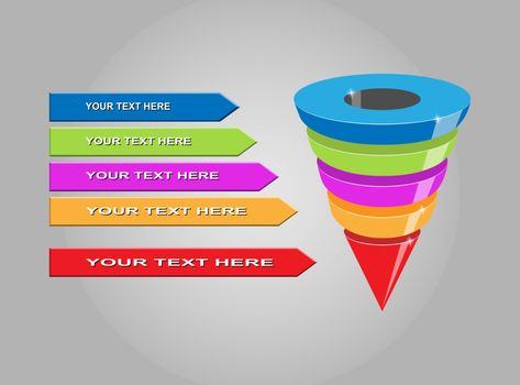 Infographics of lead generation, sales funnel with arrows for presentations of applications and websites, 3D simulation