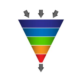 Infographics lead generation, sales funnel with arrows for application presentations and websites, flat icon