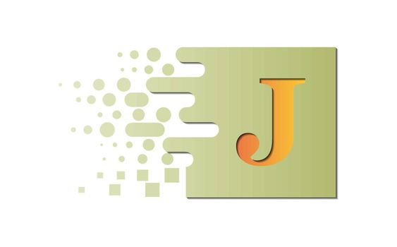 Letter J on a colored square with destroyed blocks on a white background