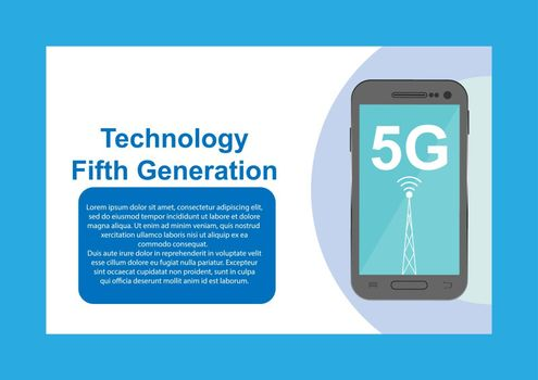 Design with the inscription 5G fifth generation, for design and decoration