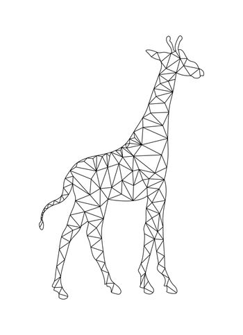 Outline drawing of a Giraffe to color in the polygon style for children and adults